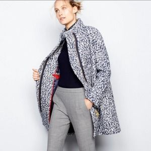 J. Crew boucle cocoon coat speckled navy wool
